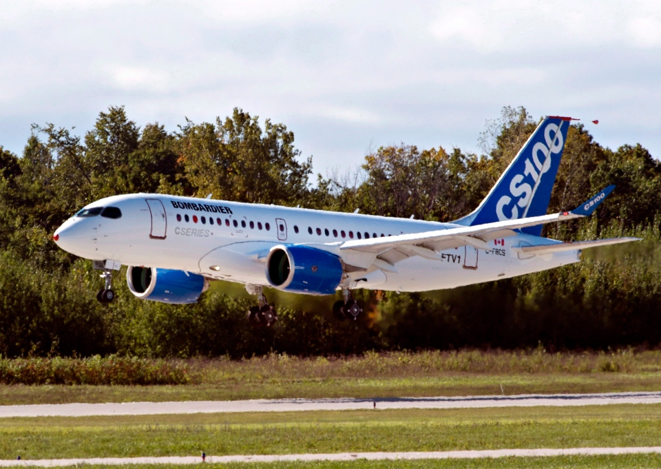Bombardier's CSeries100 takes off