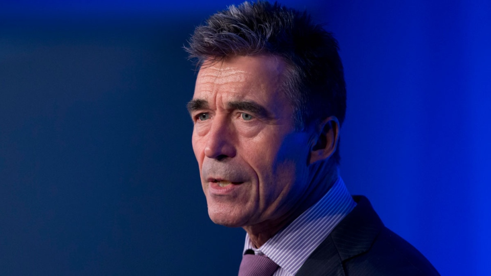 NATO Secretary General Anders Fogh Rasmussen speaks during a press conference at the NATO summit at the Celtic Manor Resort in Newport, Wales on Friday, Sept. 5, 2014. (AP / Jon Super)