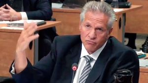 Construction magnate Tony Accurso is seen on an image taken off a television monitor at the Charbonneau inquiry looking into corruption in the Quebec construction industry, in Montreal, Friday, Sept. 5, 2014. (Paul Chiasson / THE CANADIAN PRESS)