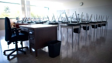An empty classroom is seen in this file photo. (The Canadian Press)