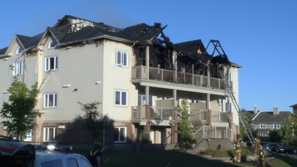 Ottawa fire officials say all 12 units at a multi-unit residential complex in Ottawa's south end have been damaged in some way after fire tore through it Sunday, Sept. 7, 2014.
