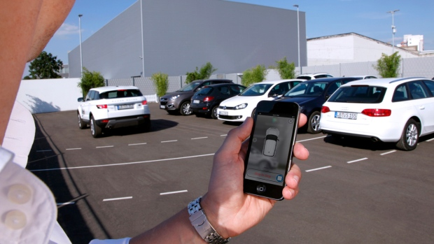 Activatin a self-parking vehicle via smartphone.