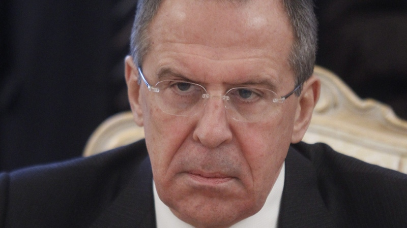 Russian Foreign Minister Sergey Lavrov seen during a meeting with Bahraini Foreign Minister Sheik Khalid bin Ahmed Al Khalifain in Moscow, Russia, Monday, Feb. 6, 2012. (AP Photo/Mikhail Metzel)
