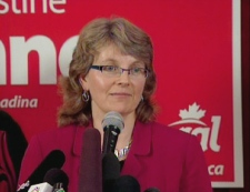 Liberal candidate for Trinity-Spadina Christine Innes speaks to the media on Friday, September 5.