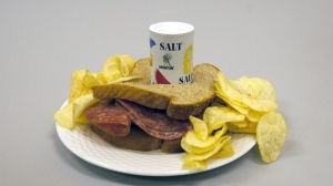 A salty meal of a salami sandwich and potato chips in Miami on Tuesday, Feb. 7, 2012. (AP /Wilfredo Lee, J Pat Carter)