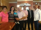 Co-owner Peter Vergiris and his family pose inside the Mascot Family Restaurant in London, Ont. on Tuesday, Sept. 9, 2014. (Bryan Bicknell / CTV London)