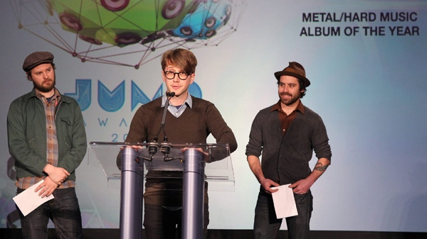 Members of the band Cuff the Duke reveal the nominees for for the Metal/Hard Music Album of the Year during the Juno Award nominations announcement in Toronto on Tuesday, Feb. 7 , 2012.