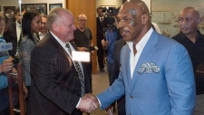 Mayor Rob Ford shakes hands with Mike Tyson