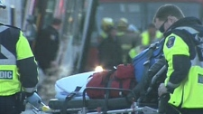 Paramedics say 12 people injured in a bus crash on February 7, 2012 are in stable condition at hospital.