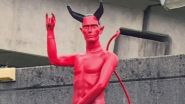 The Satan statue on display at a park in Vancouver, B.C. on Tuesday, September 9, 2014.