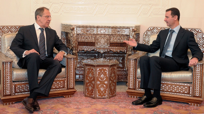 Syrian President Bashar Assad, right, meets with Russian Foreign Minister Sergei Lavrov, at Ash-Shaeb presidential palace in Damascus on Thursday, March 20, 2008. (AP / Bassem Tellawi).