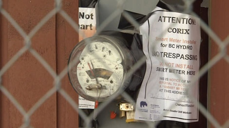 A BC Hydro meter on Lower Nicola Indian Band land is locked up to prevent installation of new smart meters. Feb. 8, 2012. (CTV)