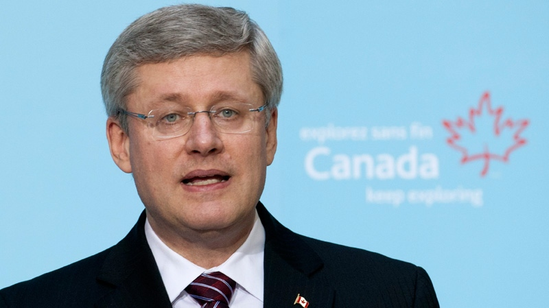 Canadian Prime Minister Stephen Harper delivers a speech in Beijing on Wednesday, Feb. 8, 2012. (Adrian Wyld / THE CANADIAN PRESS)