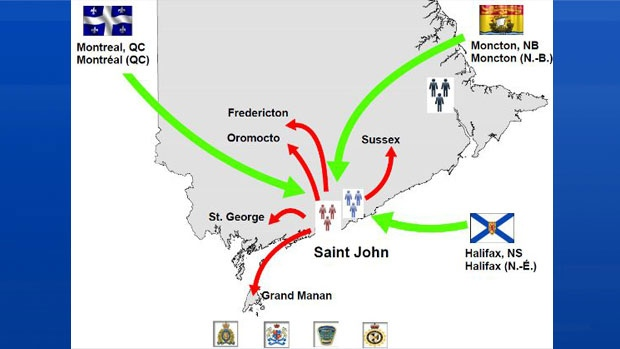 Police say this map depicts the illegal drug trafficking networks disrupted by Operation J-Tornado. (New Brunswick RCMP)
