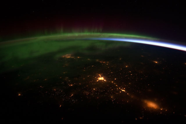 This image taken from video by the crew of Expedition 30 on board the International Space Station shows a sequence of shots on a pass from near the border of British Columbia and Washington state, near Vancouver Island, to southern Alberta, near Calgary. The main focus of this video is the Aurora Borealis over Canada. (NASA)