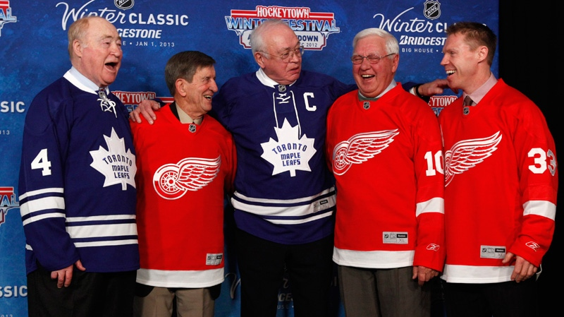 National Hockey League alumni, from left, Red Kelly, Ted Lindsay, George Armstrong, Alex Delvecchio, and Kris Draper pose during the announcement of the NHL Winter Classic hockey game at Comerica Park in Detroit, Thursday, Feb. 9, 2012. The Toronto Maple Leafs will play the Detroit Red Wings at Michigan Stadium in Ann Arbor, Mich., on Jan. 1, 2013. (AP / Paul Sancya)