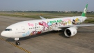 The plane is decorated inside and out with Hello Kitty characters. (Photo from Eva Air Sanrio)