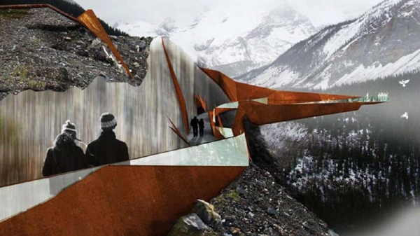 An interpretive trail and viewing platform overlooking glaciers along the Icefields Parkway in Jasper National Park, shown in this artist's rendition. Environment Minister Peter Kent is giving a green light to a controversial glacier-walk project in Alberta's Jasper National Park. (THE CANADIAN PRESS/HO-Brewster Travel Canada)