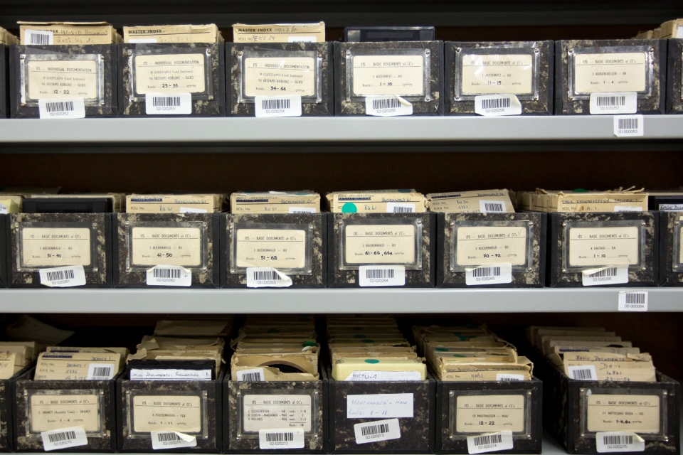 Archive material is stored in boxes on shelves at the Yad Vashem Holocaust memorial archives in Jerusalem in this Monday, Sept. 8, 2014 photo. (AP / Sebastian Scheiner)