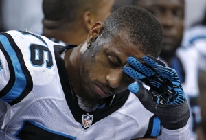 Carolina Panthers defensive end Greg Hardy (76) reacts in the second half of an NFL football game in this Dec. 8, 2013 file photo. (AP / Dave Martin)