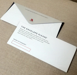 This photo provided by A Woman's Nation shows an envelope that Marriott will be placing in hotel rooms to encourage guests to leave a tip for the person who cleans the room. (AP Photo/A Woman's Nation)