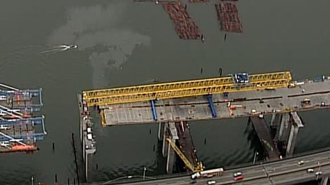 A crane collapsed on the Port Mann Bridge on Friday morning. Feb. 10, 2012. (CTV)