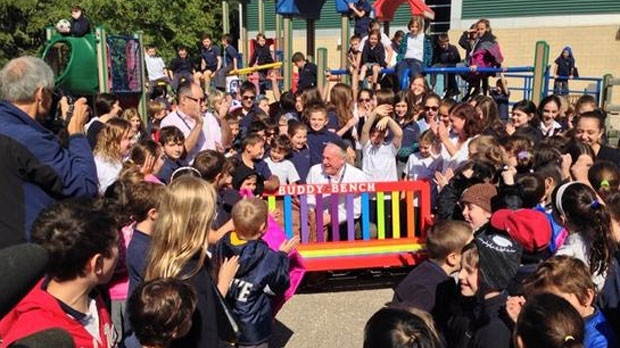 The idea was brought to the school from part-time teacher Morris Henoch, who first read about the Buddy Bench concept online.