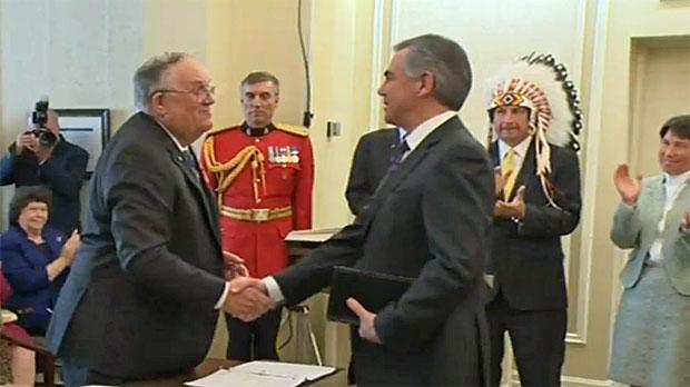 Jim Prentice is sworn-in as Alberta premier at a ceremony in Edmonton on September 15, 2014.