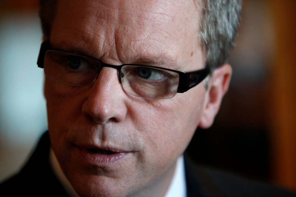 Saskatchewan Premier Brad Wall is interviewed at the Inn at Laurel Point in Victoria, B.C., January 17,2012. (THE CANADIAN PRESS IMAGES/Chad Hipolito)