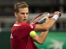 Vasek Pospisil participates in a Davis Cup practice session in Halifax on Monday, Sept. 8, 2014. THE CANADIAN PRESS/Andrew Vaughan