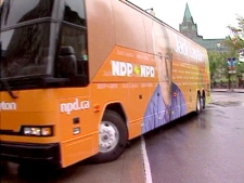 The NDP campaign bus is taken around Ottawa in preparation for the election on Saturday, Sept. 6, 2008.