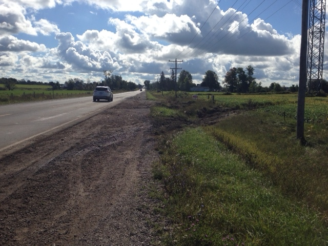 Skid marks can be seen on Huron Road, near Goderich, Ont. on Tuesday, Sept. 16, 2014, hours after a fatal head-on crash took place on the highway. (Scott Miller/ CTV London)