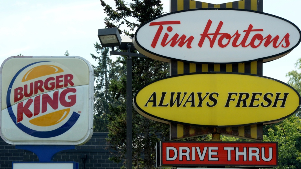 A Burger King sign and a Tim Hortons sign