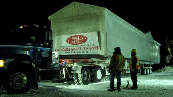 Two more new homes arrive in Attawapiskat on Sunday, Feb. 12, 2012.