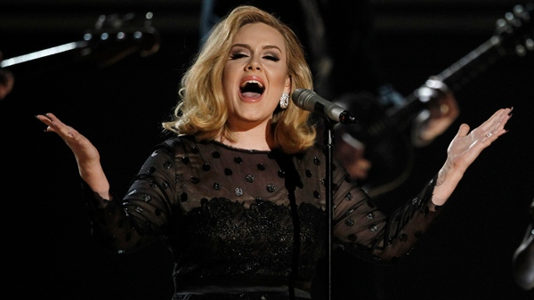 Adele performs during the 54th annual Grammy Awards in Los Angeles on Sunday, Feb. 12, 2012. (AP / Matt Sayles)