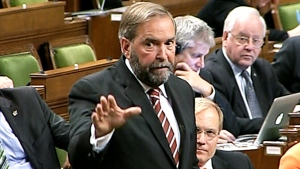 Leader of the NDP Thomas Mulcair speaks in the House of Commons during an emergency session on Canada's involvement in Iraq on Tuesday, Sept. 16. 2014.
