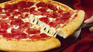 A hand-tossed Pizza Hut pie