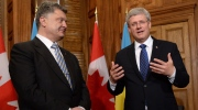 Prime Minister Stephen Harper meets with Ukrainian President Petro Poroshenko at his office in Ottawa, Wednesday, Sept.17, 2014. (Sean Kilpatrick / THE CANADIAN PRESS)