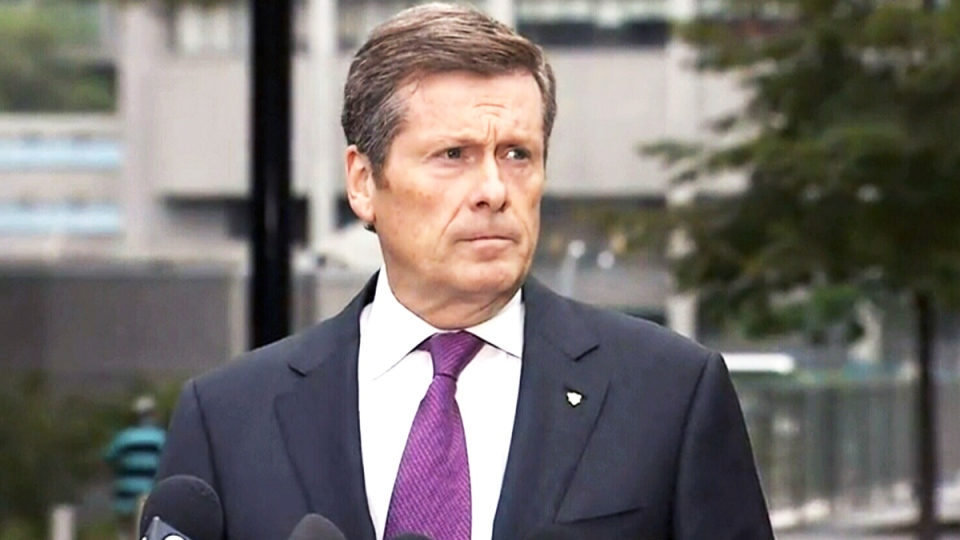 John Tory speaks about Toronto Mayor Rob Ford's malignant tumour diagnosis, in Toronto, Wednesday, Sept. 17, 2014.