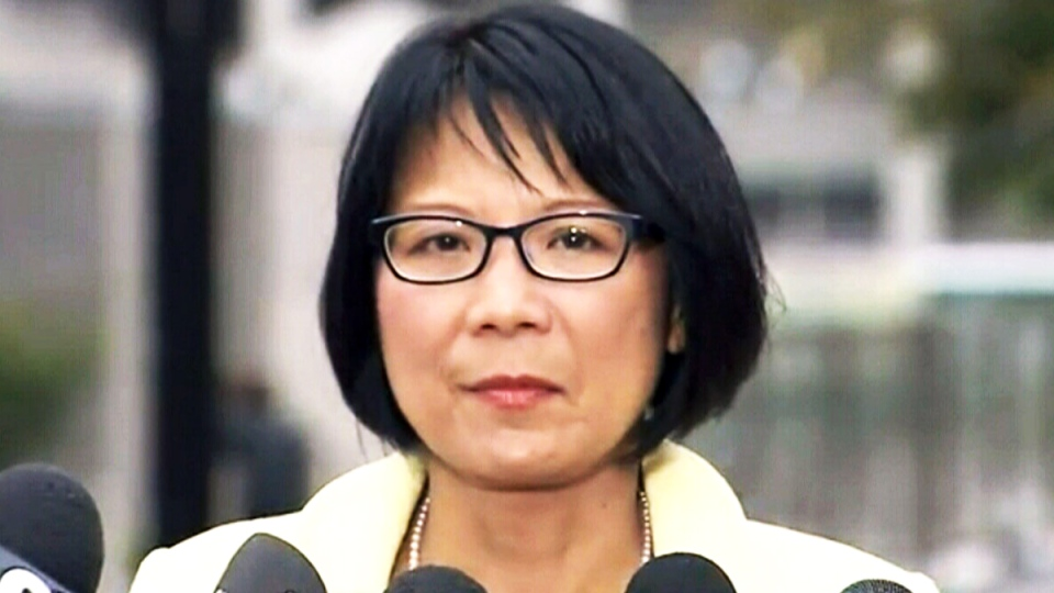 Olivia Chow speaks about Toronto Mayor Rob Ford's malignant tumour diagnosis, in Toronto, Wednesday, Sept. 17, 2014.