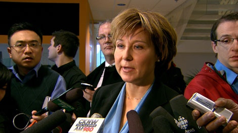 B.C. Premier Christy Clark talks to reporters after unveiling her spring session agenda on CKNW radio. Feb. 13, 2012. (CTV)