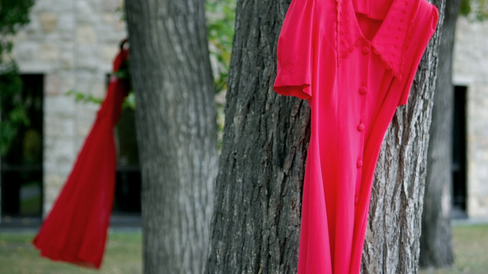 Red dresses hang on trees on the University of Saskatchewan campus.