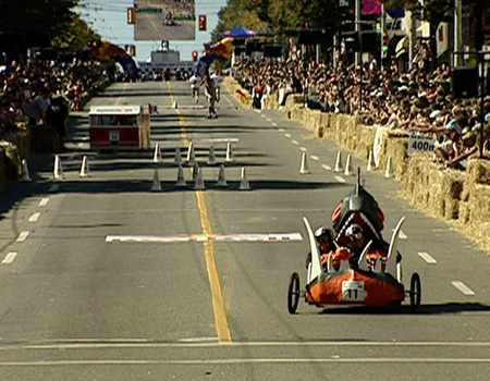 One soapbox races to victory at the Red Bull Soapbox Derby in Vancouver on Sunday.