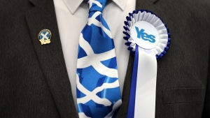 A Yes campaigner is photographed, at Ritchie Hall, in Strichen, Scotland, Thursday, Sept. 18, 2014. (AP / Scott Heppell)