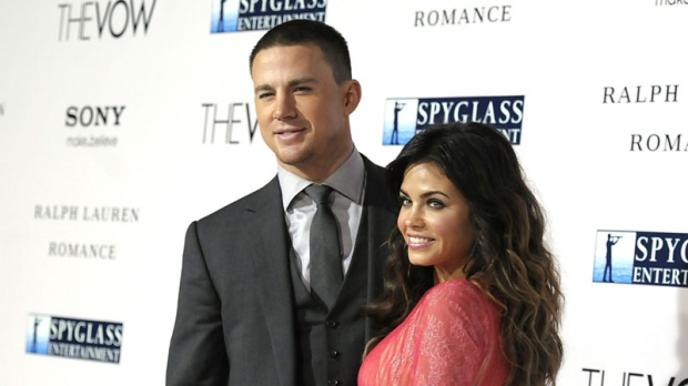 Actor Channing Tatum, left, and his wife, actress Jenna Dewan arrive at the premiere of the feature film 'The Vow' in Los Angeles on Monday, Feb. 6, 2012. (AP / Dan Steinberg)