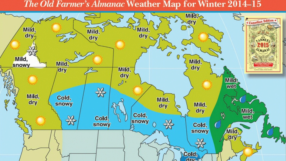 The Old Farmer's Almanac 2014- 2015 winter weather map for Canada.