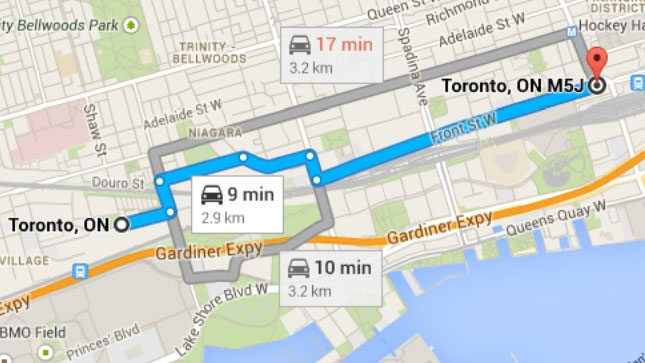 A map shows the route the Liberty Village Express bus would take.