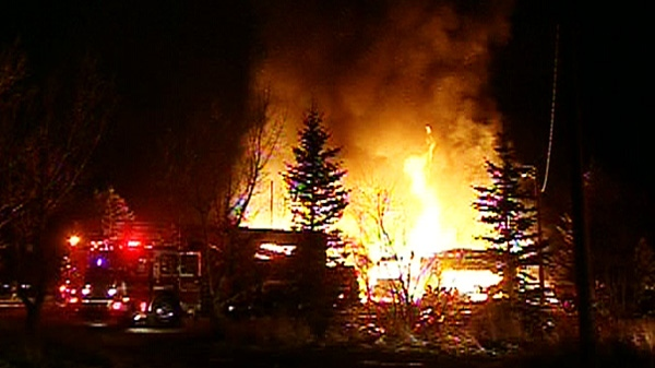 A fire that burned down a Hell's Angels clubhouse is seen near Calgary Sunday night.