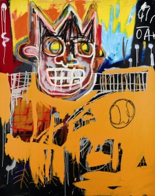 This undated photo is provided by Sotheby's shows Jean-Michel Basquiat's 'Orange Sports Figure'