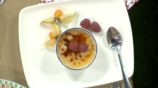 Chef Michael P. Clive makes creme brulee on Canada AM, Tuesday, Feb. 14, 2012.